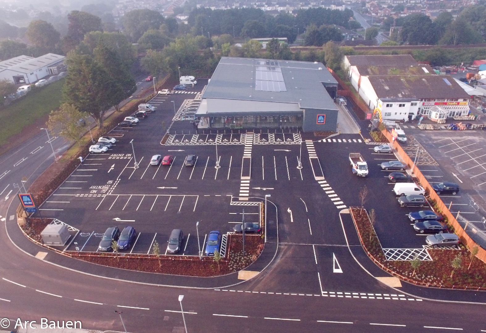 A bird's eye view of the latest completed new build Aldi store Plympton - The Grand Opening today 13.08.20